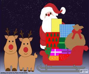 Układanka Rysunek Santa Claus sankach