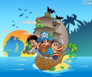 Układanka Rysunek statek piracki