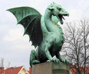 Układanka Rzeźba skrzydlaty smok