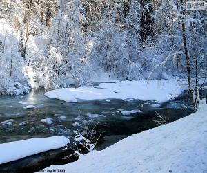 Układanka Rzeki w zimie