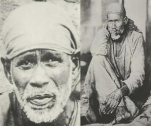 Układanka Sai Baba, indyjski guru, jogin i fakir, który jest uważany przez swoich zwolenników, jak święty