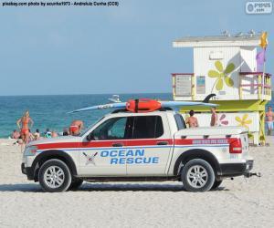 Układanka Samochód ratownictwa ocean z Miami Beach