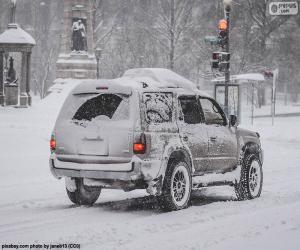 Układanka Samochodem ze śniegu