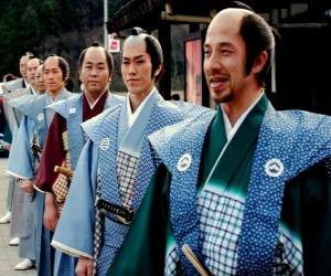 Układanka Samurai z tradycyjnych strojów, workowate spodnie i kimono