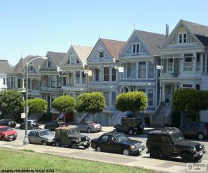 Układanka San Francisco wiktoriańskich domów