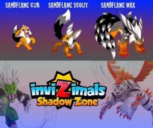 Układanka Sandflame Cub, Sandflame Scout, Sandflame Max. Invizimals Następny wymiar. Te Invizimals chroniły od wieków grobowcach faraonów