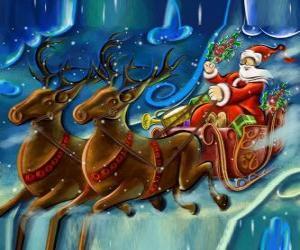 Układanka Sanie z prezentami loty z Santa Claus i reniferów magii