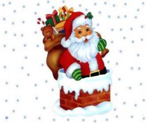 Układanka Santa Claus następuje przez komin obciążony wieloma przedstawia