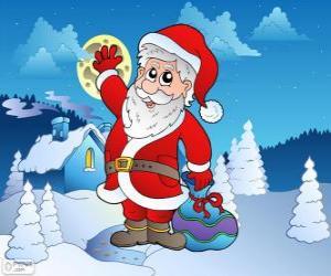 Układanka Santa Claus  w śnieżny krajobraz