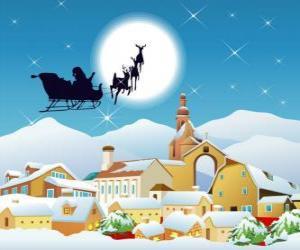 Układanka Santa Claus w jego latające sanie ciągnione przez renifery magii