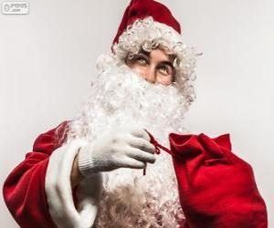 Układanka Santa Claus zadowolony Boże Narodzenie prezenty