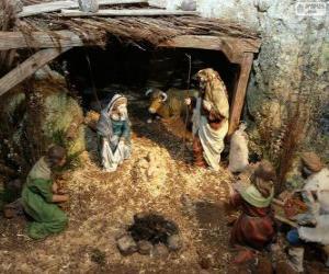 Układanka Scena Narodzenia Jezusa w stajni w pobliżu Betlejem
