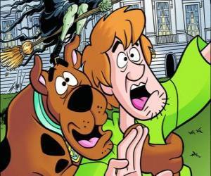 Układanka Scooby-Doo i jego przyjaciel Shaggy uciekają przerażeni