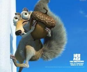 Układanka Scrat, saber-toothed wiewiórki obsesję żołędzie