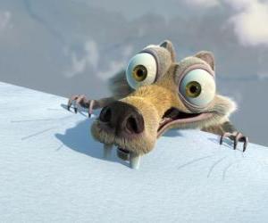 Układanka Scrat wiewiórka, przestraszony