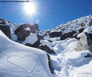 Układanka Serce na śniegu