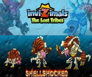 Układanka Shellshocked, najnowszej ewolucji. Invizimals Zaginione Plemiona. Mimośrodowego stworów magiczne, który żyje samotnie w komorach