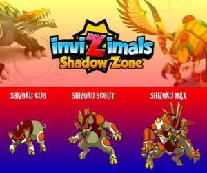 Układanka Shizoku Cub, Shizoku Scout, Shizoku Max.. Invizimals Następny wymiar. Świnia samuraja, który pochodzi z feudalnej Japonii, wojownik w zbroi