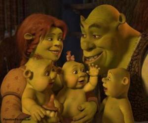 Układanka Shrek i Fiona miłości i bardzo zadowolony z trójką dzieci