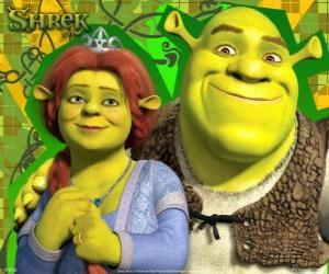 Układanka Shrek i Fiona w miłości i bardzo szczęśliwy