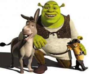 Układanka Shrek, wilkołak z przyjaciółmi Osioł i Kot w butach