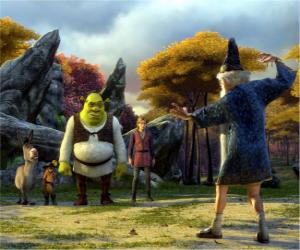 Układanka Shrek, wilkołak z przyjaciółmi Osioł, Kot w butach i Artur, Merlin oglądania