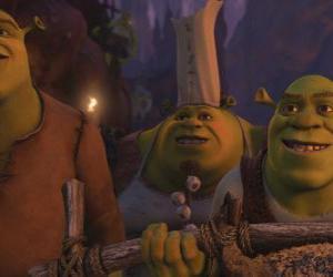 Układanka Shrek wraz z innymi ogrów.