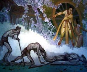 Układanka Siddhartha Gautama, a jego pierwszą wizję starości