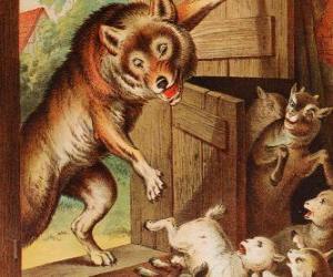Układanka Siedmiu małe dzieci boją się i uciekać i ukrywać się, gdy widzą wilk na drzwi