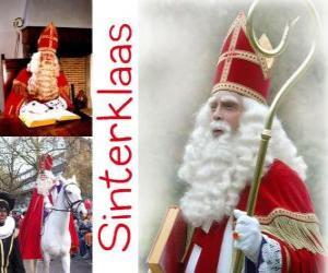 Układanka Sinterklaas. Św Mikołaj przynosi prezenty dla dzieci w Holandii, Belgii i innych krajach Europy Środkowej
