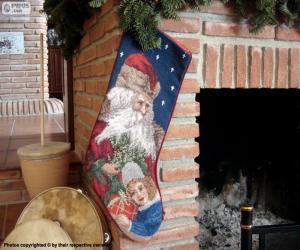 Układanka Skarpety świąteczne wisiały na komin
