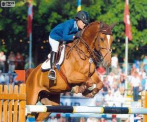 Układanka Skoki przez przeszkody. Jeździec i Koń w skoku