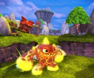 Układanka Skylander Eruptor, stworzenie, które rzuca kule ognia i płomieni. Ogień Skylanders