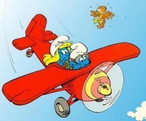 Układanka Smerf i Smerfetka latające czerwone płaszczyzny