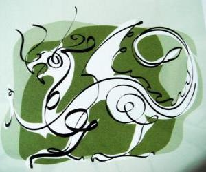 Układanka Smok, znak Smoka, Rok Smoka. Piąty Chiński zodiak zwierzę