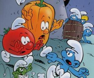 Układanka Smurf jest prowadzona przez pomidorów i papryki