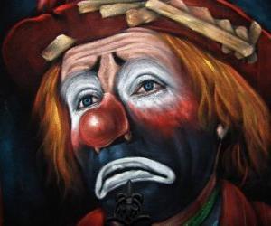 Układanka Smutne Clown twarzy