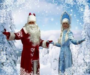 Układanka Snegurochka lub Śnieżynka i Dziadkiem Mrozem lub Dziadek Mróz, rosyjski tradycyjne znaki Boże Narodzenie