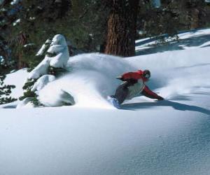 Układanka Snowboarder malejąco świeżym śniegu