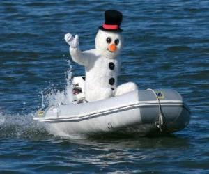 Układanka Snowman w łodzi