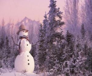 Układanka Snowman ze sceną śniegu