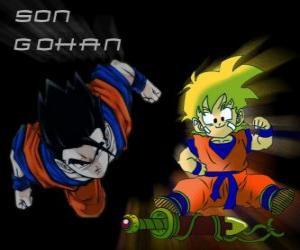 Układanka Son Gohan, Goku najstarszy syn, wojownik, pół człowiekiem, pół Saiyan.