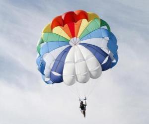 Układanka Spadochroniarz w dół przez chmury po skoki spadochronowe z samolotu