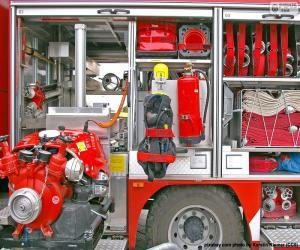 Układanka Sprzęt strażacki ciężarówka