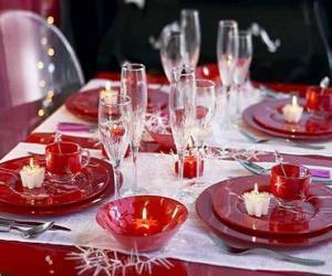 Układanka Stół przygotowana na Boże Narodzenie