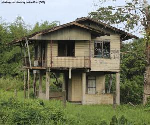 Układanka Stary dom w lesie