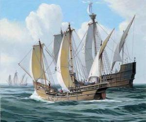Układanka Statków pierwszej wyprawy Kolumba był statek Santa Maria, i karaweli, Pinta i Nina