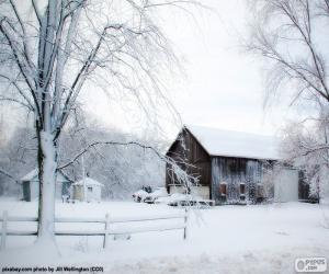 Układanka Stodoła w zimie