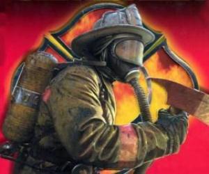 Układanka Strażak opuszczeniu budynku z siekierą lub siekierą w ręku