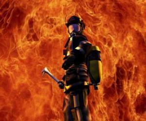 Układanka Strażak przed ogniem